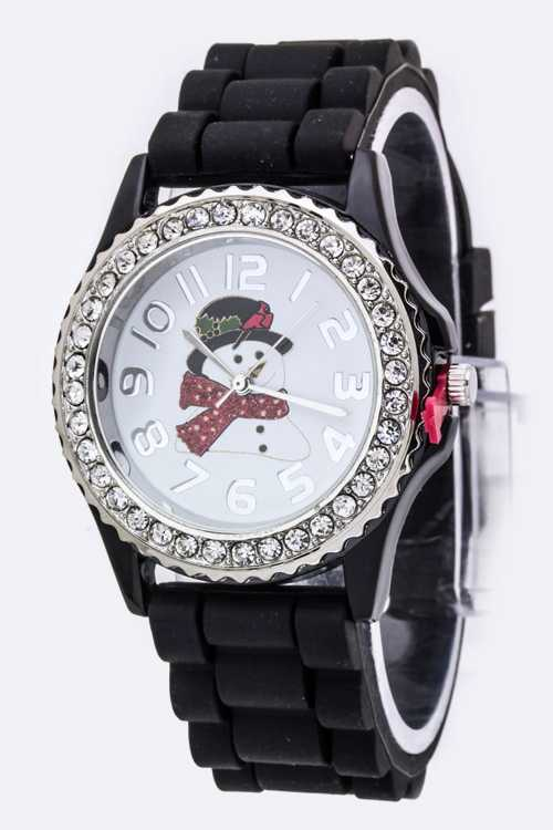 Snowman Crystal Bezel Watch