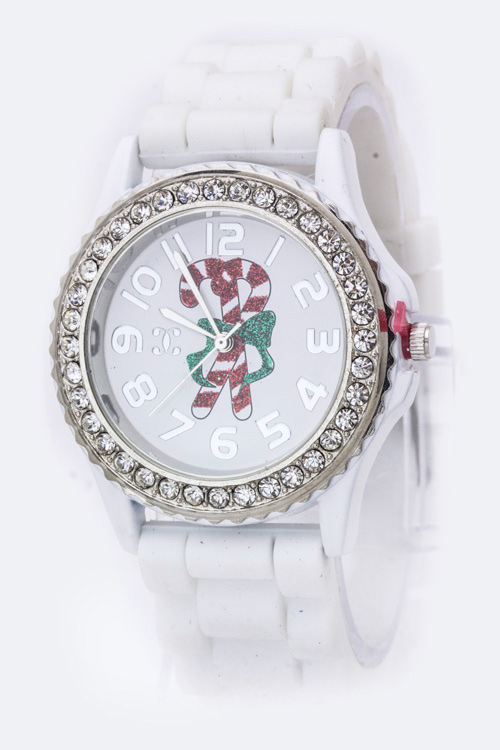 Candy Cane Crystal Bezel Watch