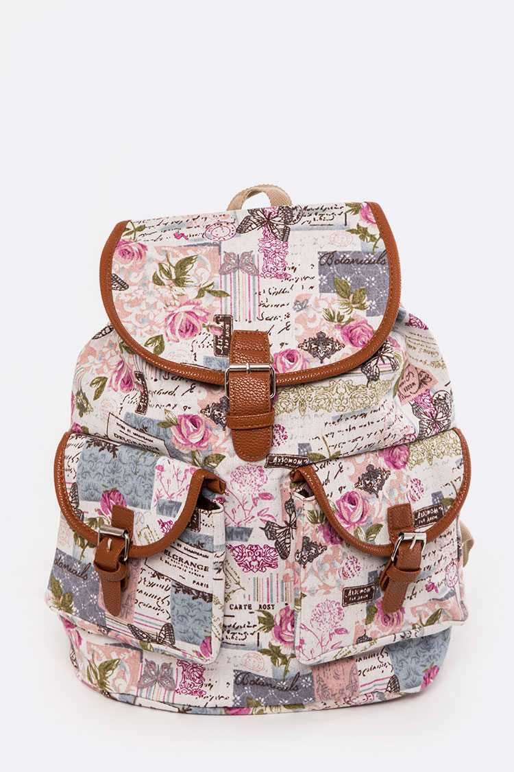 Rose & Butterfly Print Canvas Backpack
