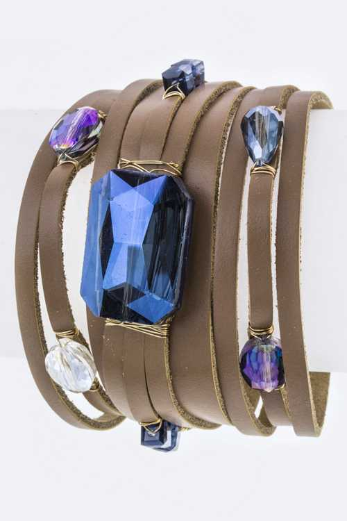 Mix Beads Stones Slit Leather Cuff