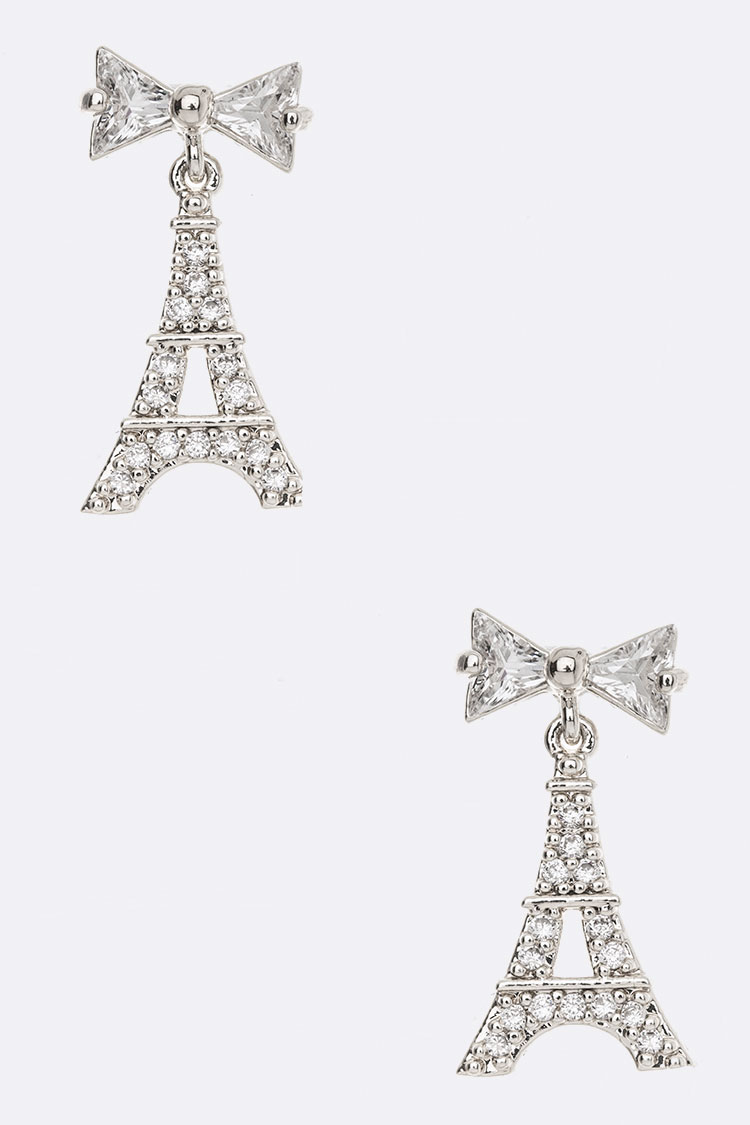 Bow & Eiffel Tower CZ Earrings