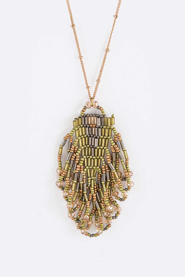 Seed Beads Hand Made Pendant Iconic Necklace