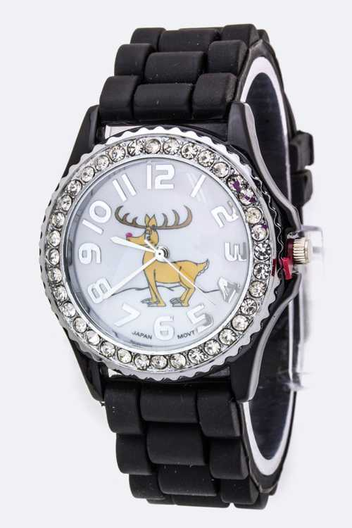 Reindeer Crystal Watch - L