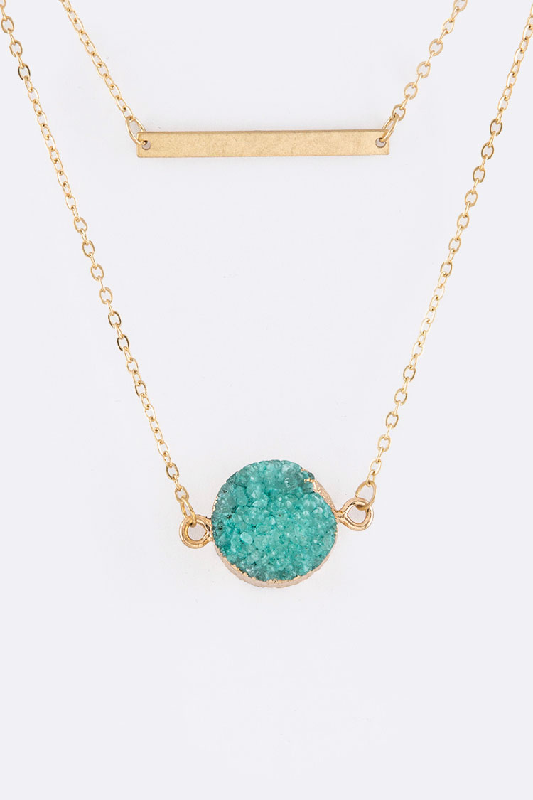 Druzy & Metal Bar Pendants Layer Necklace