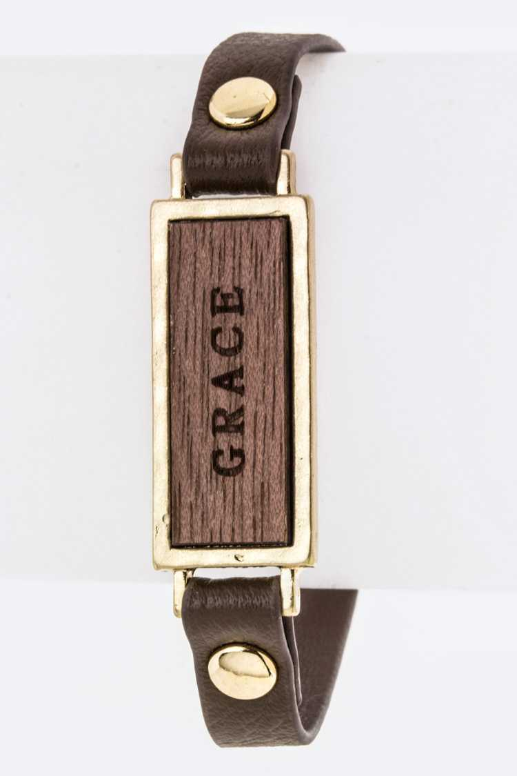 GRACE Branded Wooden Tag Leather Cuff