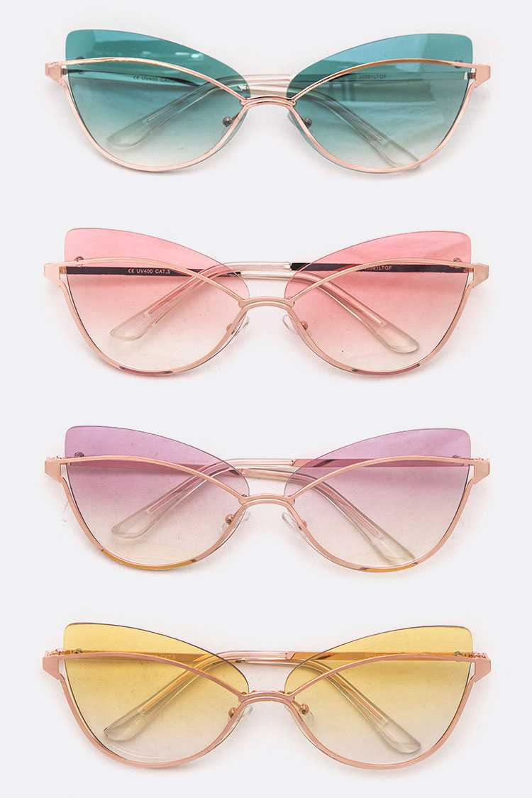 Iconic light Tint Color Cat Eye Sunglasses Set