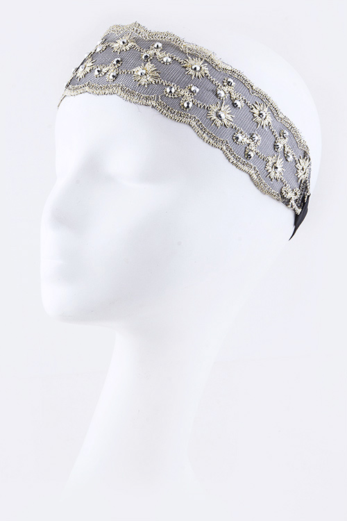 Crystal & Lurex Lace Stretch Headband