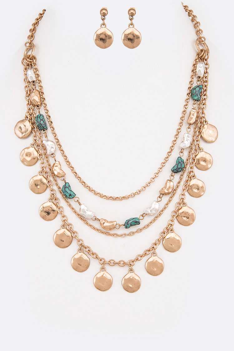 Mix Plated Metal Nugget Layer Necklace Set