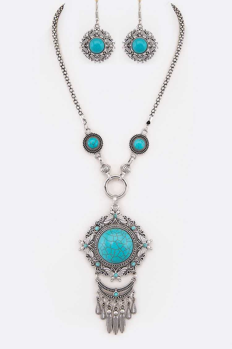 Turquoise Pendant Statement Necklace Set