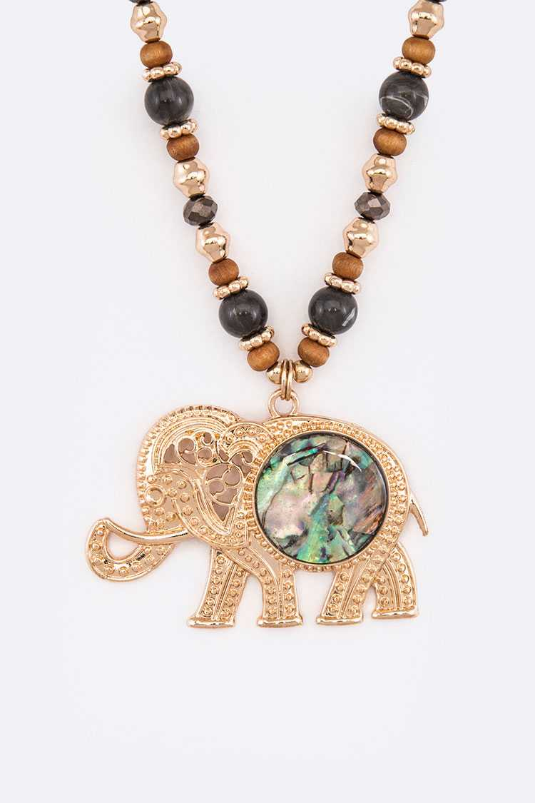 Abalone Elephant Pendant Mix Beads Necklace Set