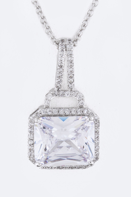 Square CZ Drop Pendant Necklace