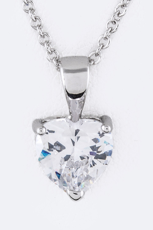 Heart CZ Pendant Necklace