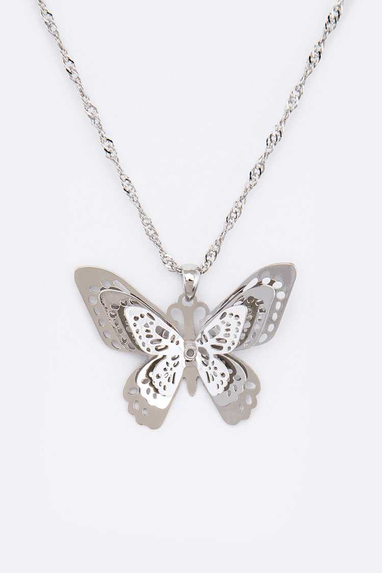 3 D Butterfly Filigree Pendant Necklace