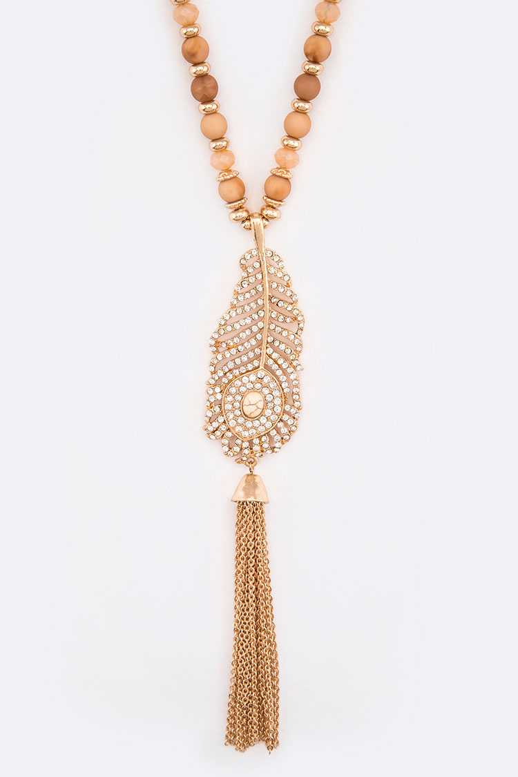 Crystal Feather Chain Tassel Beaded Long Pendant Necklace Set