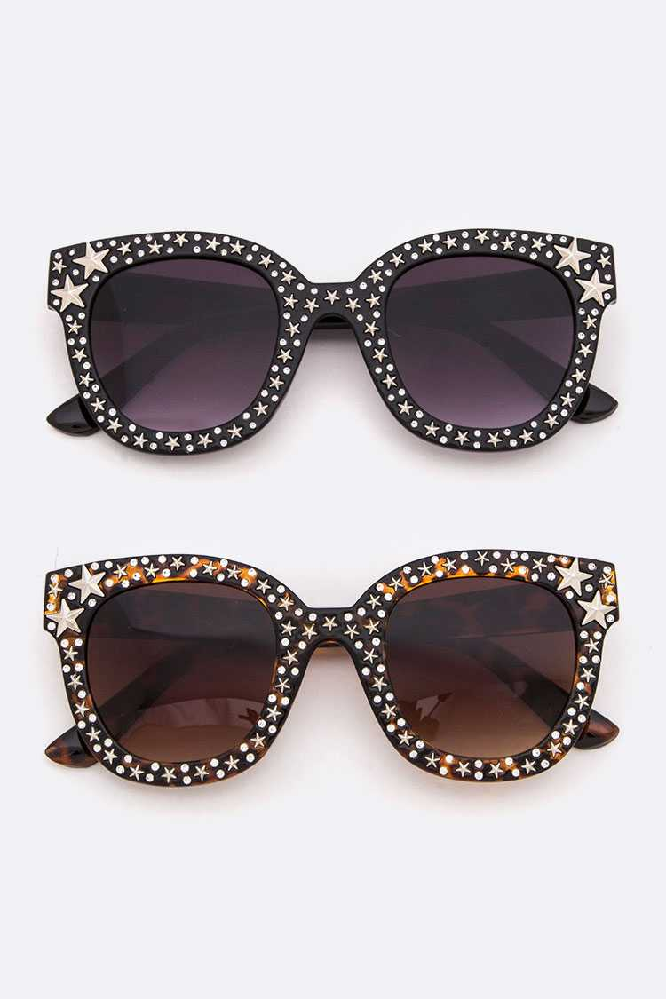 Crystal & Star Studded Fashion Sunglasses