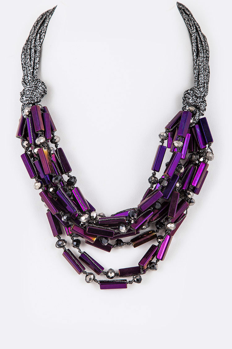 Lace Glass Beads Metallic Statement Necklace