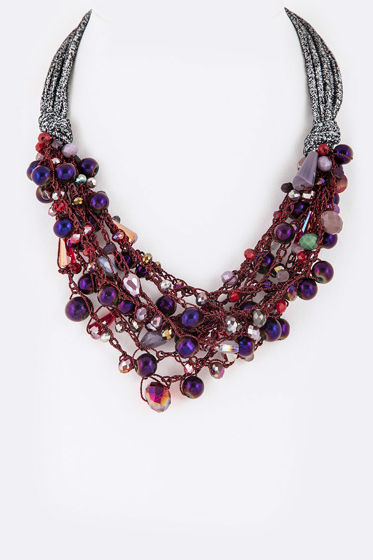 Crystal Lace Layered Statement Necklace
