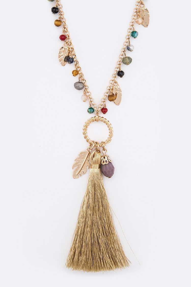 Fringe Color Beads Feather Charm Metallic Tassel Long Necklace S