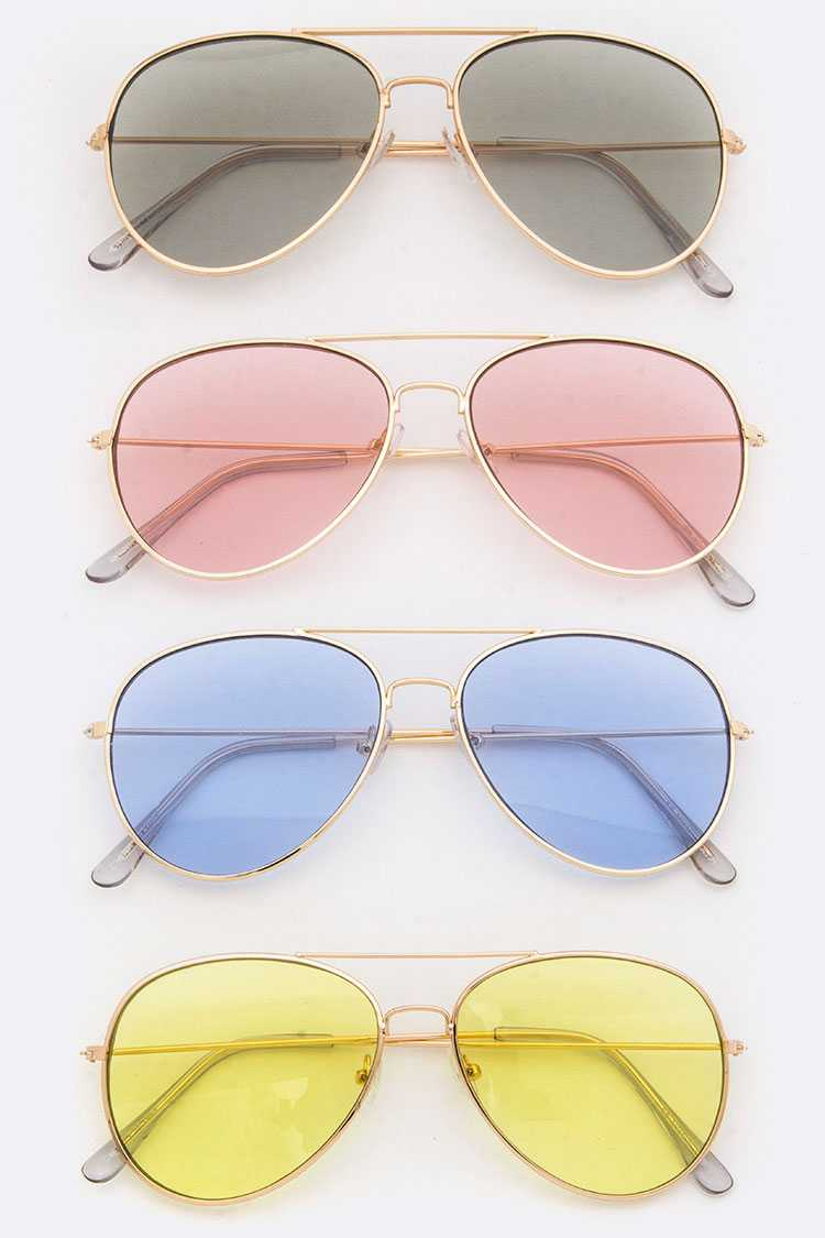 Color Lens Aviator Sunglasses