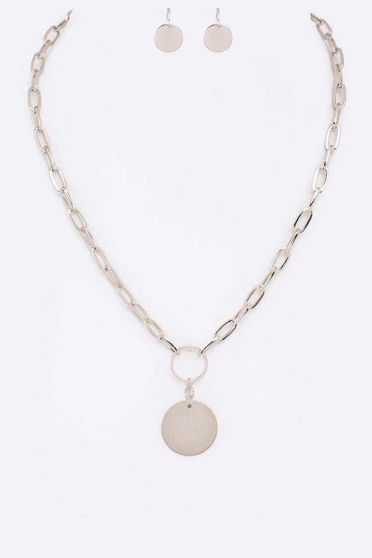 Link Chain Metal Disk Pendant Necklace Set