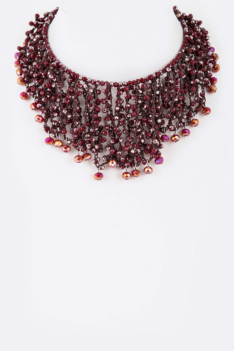 Crystal Mix Drop Fringe Beads Statement Necklace