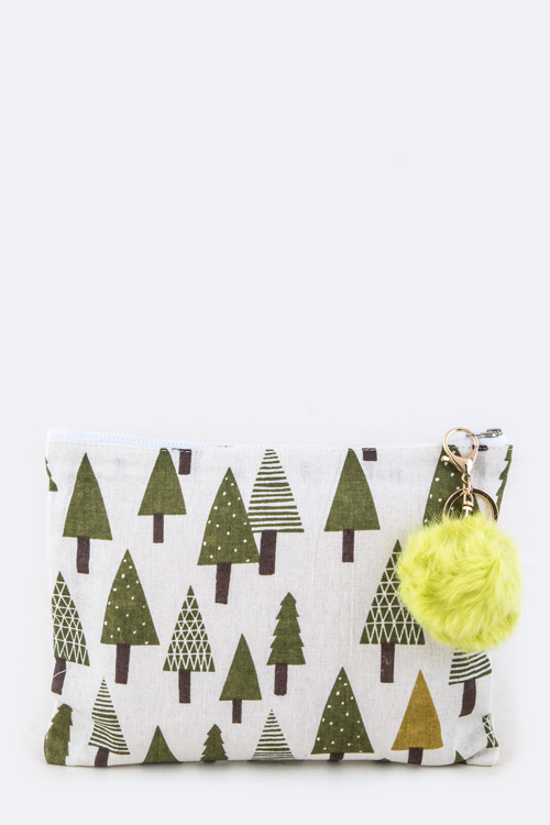 Trees Printed Linen Fur Pom Pouch