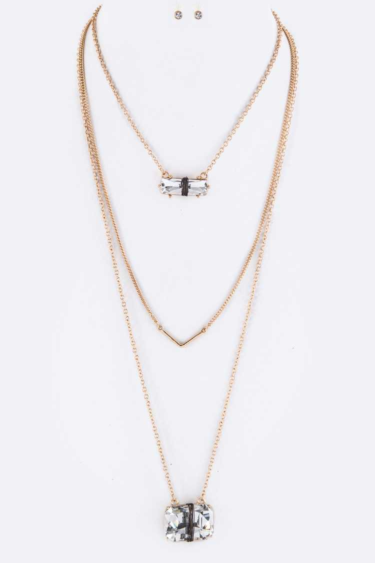 Wired Crystals & V-Bar Layer Necklace Set