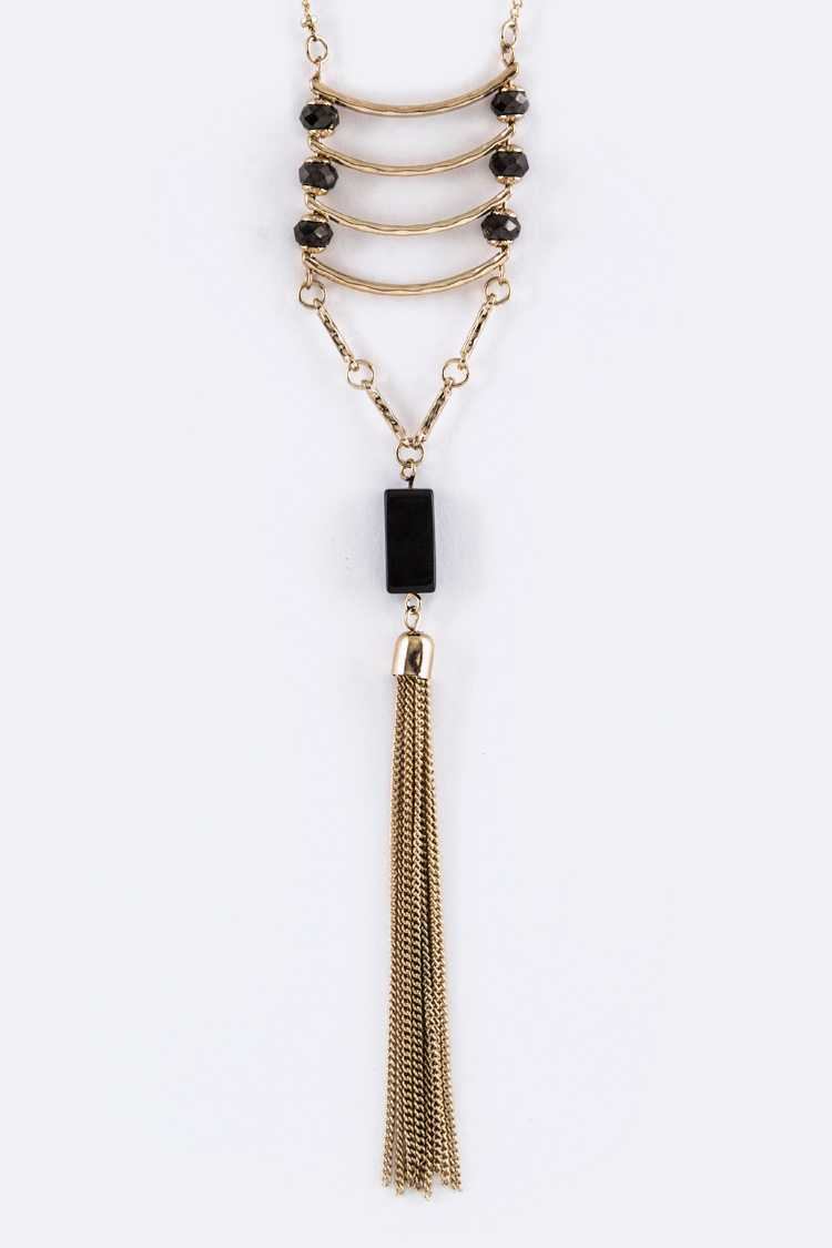 Layered Bars & Chain Tassel Necklace