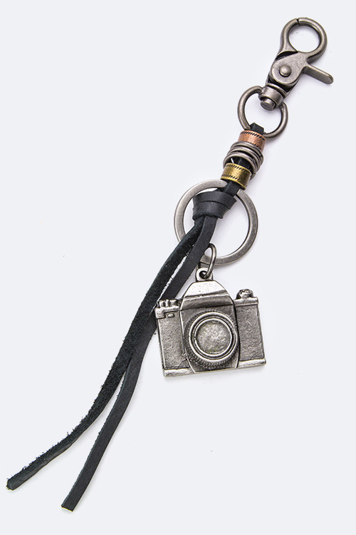 Camera Charm Leather Keychain
