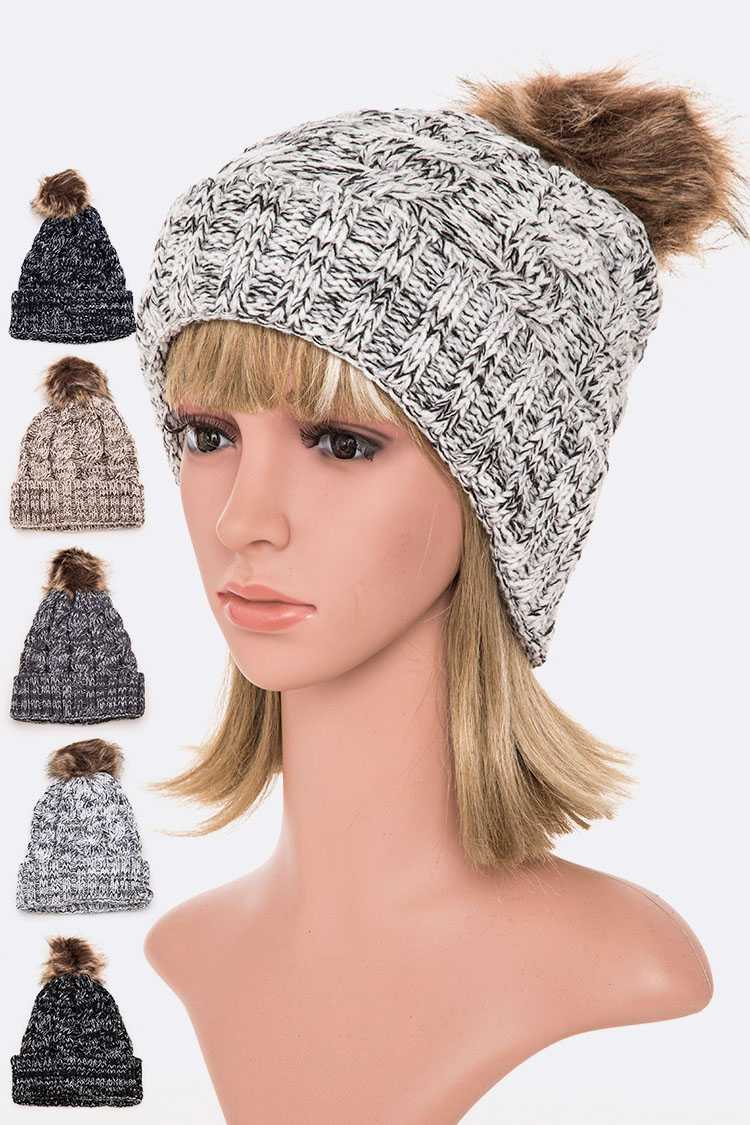 Marl Cable Knit Fashion Beanie Set