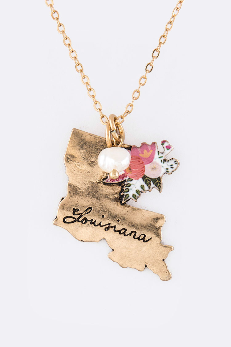 Louisiana Map Pendant Necklace Set
