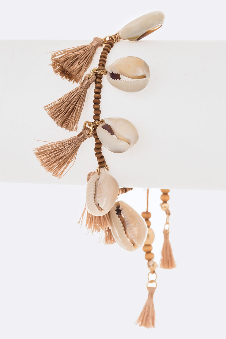 Fringe Shell With Tassel Drawstring Bracelet