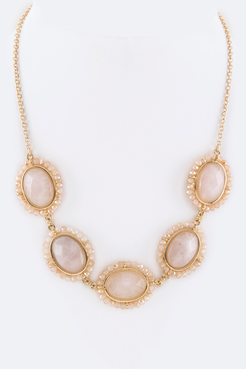 Crystal & Precious Stone Collar Necklace Set