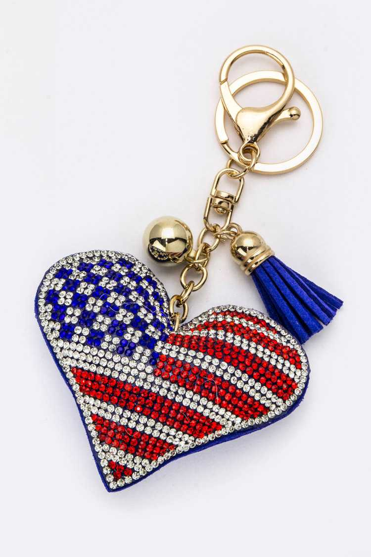 Crystal American Heart Key Charm