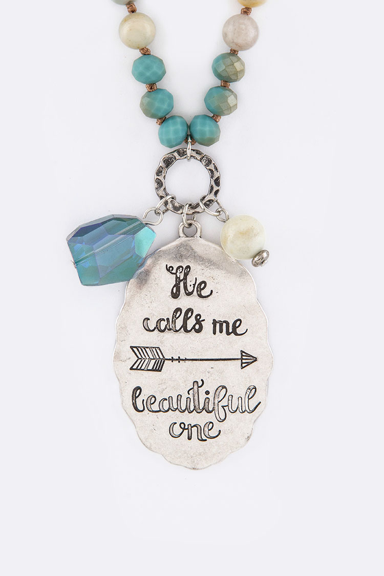 He Calls Me... Engraved Tag Mix Beads Necklace Set