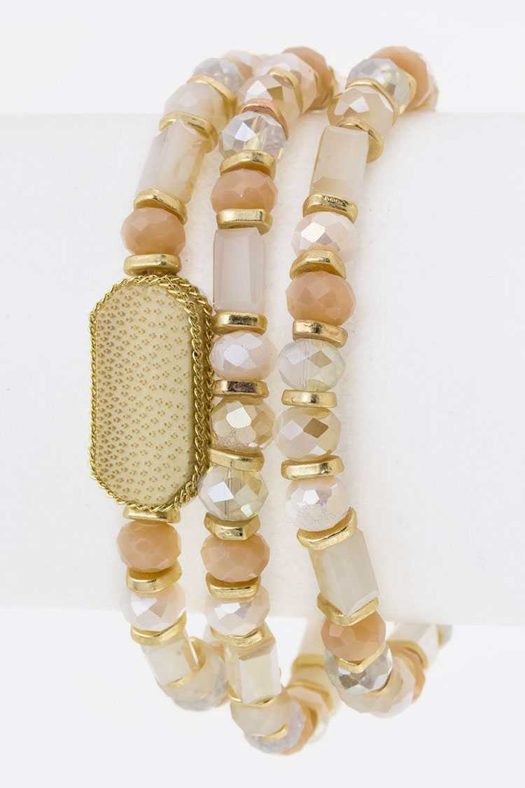 Mix Beads & Wooden Disks Stretch Layer Bracelet