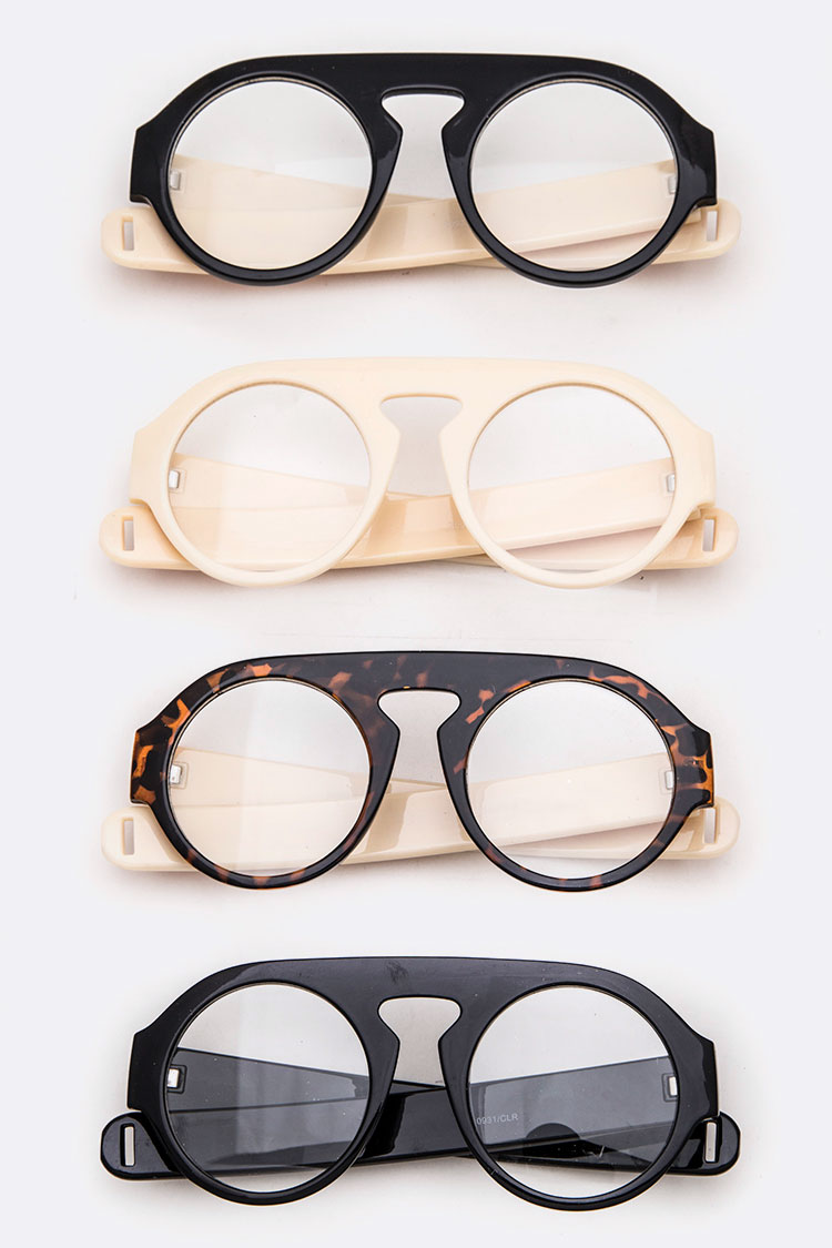 Iconic Brow Master Clear Lens Round Glasses