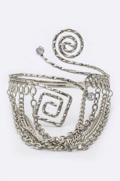 Layer Chains Crystal & Metal Swirl Armlet