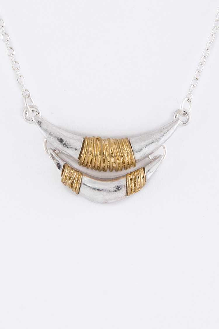 Wired 2 Tone Horns Pendant Necklace
