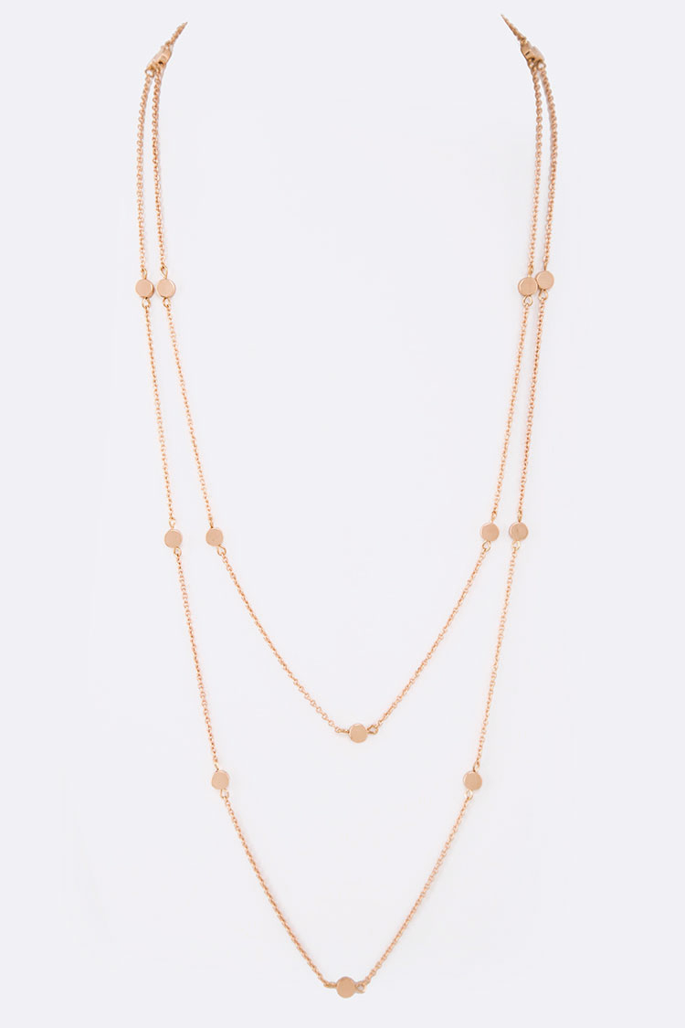 Metal Dots Station Long Layered Necklace