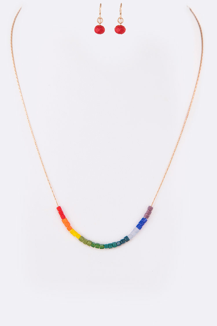 Rainbow Mix Beads Slider Necklace Set