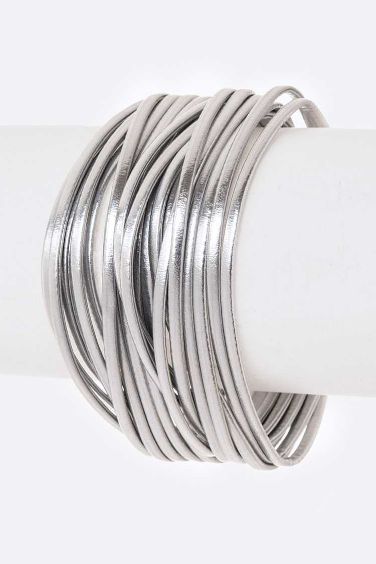Metallic Leather Magnetic Bracelet