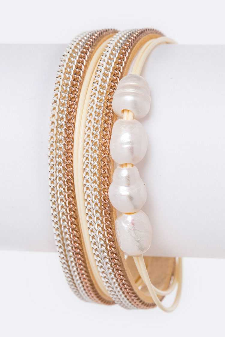 Mix Chain & Pearl Magnetic Leather Bracelet