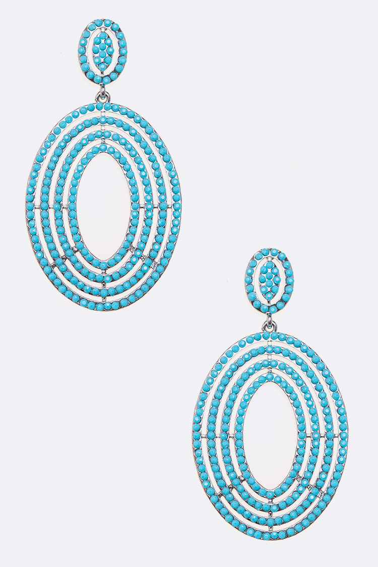 Turquoise Oval Drop Iconic Earrings