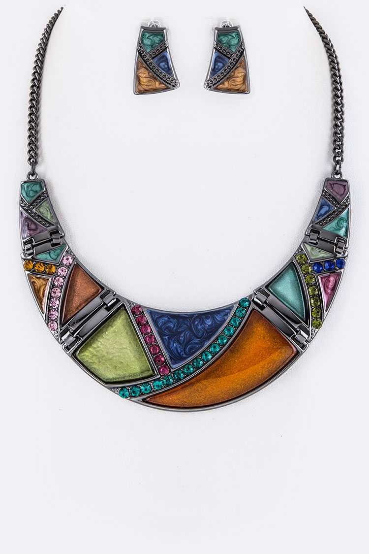 Crystal & Enamel Stone Collar Necklace Set