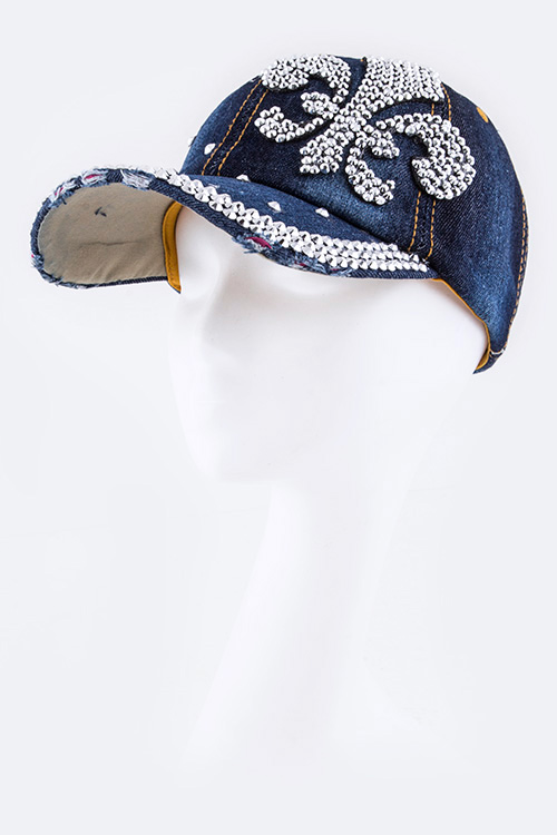 Crystal Fleur De Lis Embellished Fashion Denim Cap