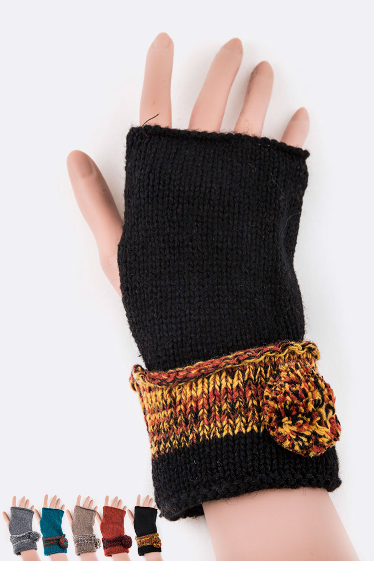 Yarn Pom Convertible Fingerless Gloves