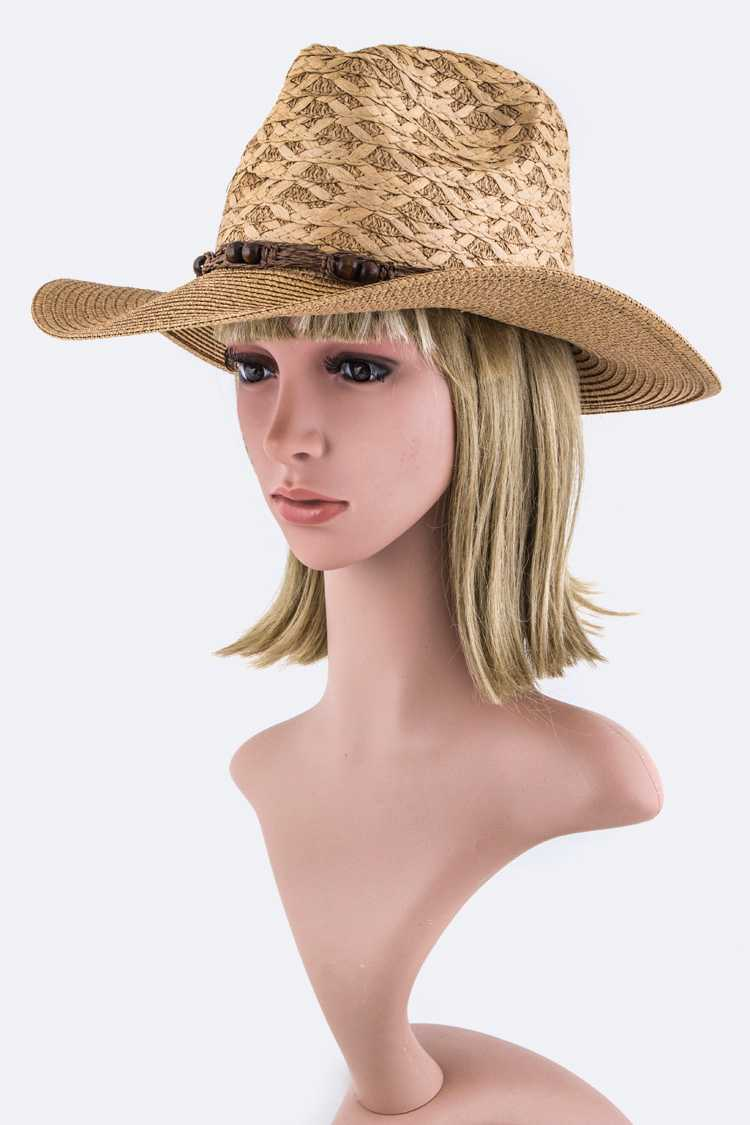 Wooden Beads Band Straw Panama Hat