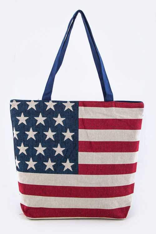 American Flag Print Fashion Tote