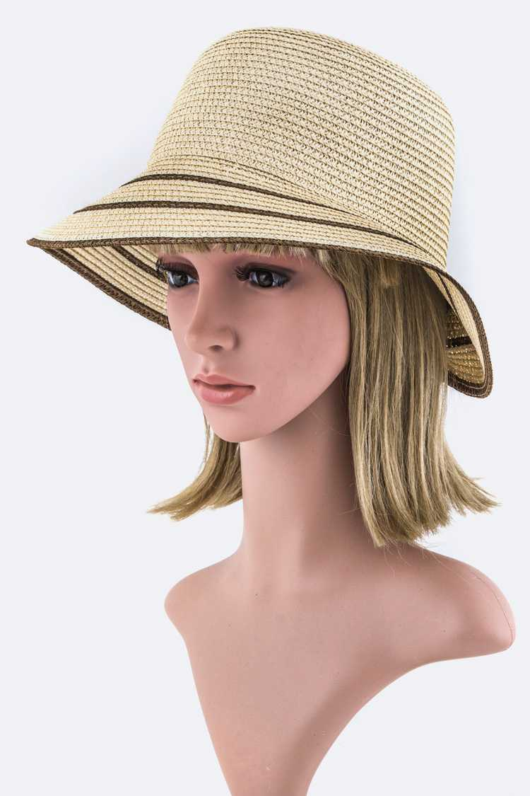 2 Tone Brim Straw Summer Hat